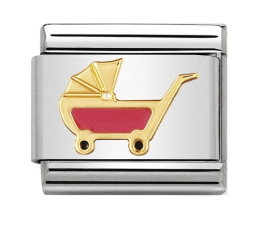 Nomination Gold & Pink Baby Pram Charm