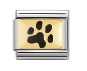 Nomination Gold & Black Paw Print Charm