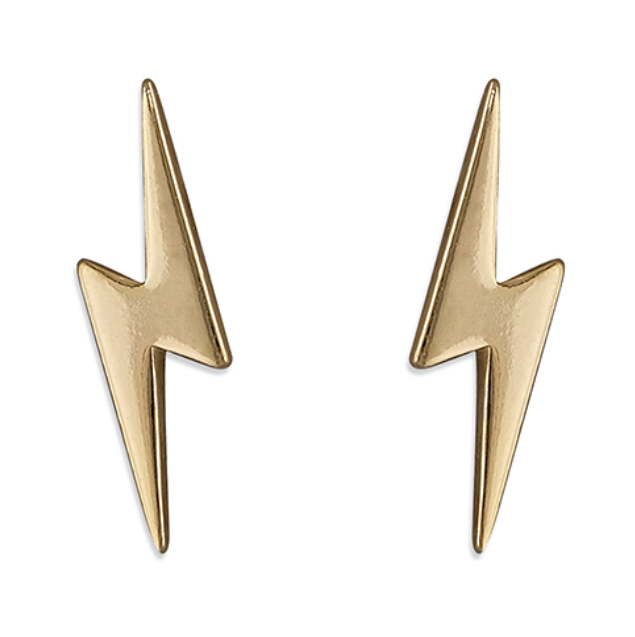 Yellow Gold Lightning Bolt Stud Earrings