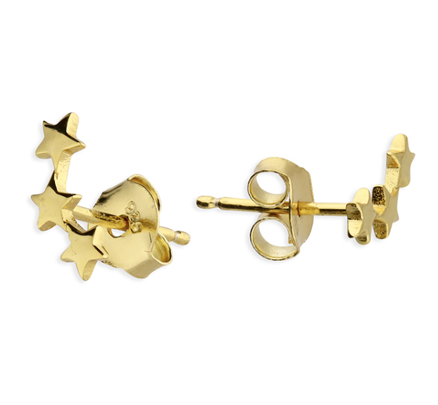 Yellow Gold Star Ear Climber Stud Earrings