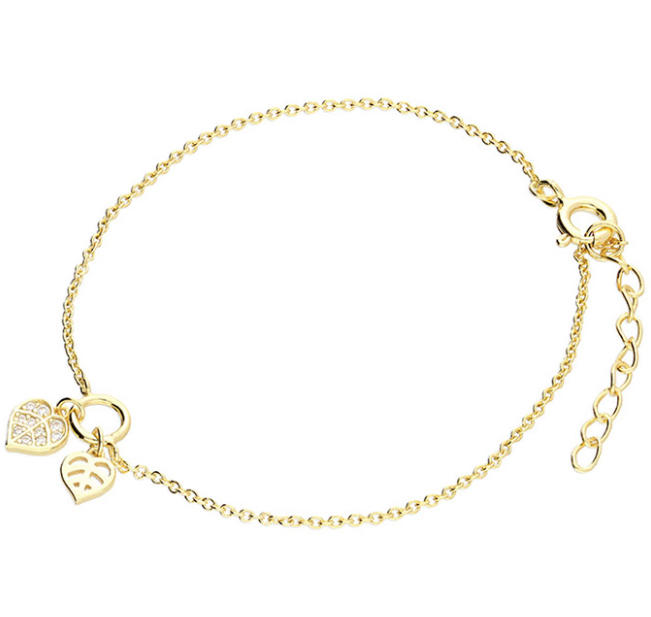 Yellow Gold Leaf CZ Bracelet