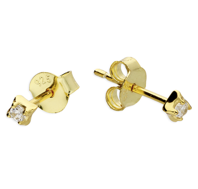 Yellow Gold Square CZ Dainty Stud Earrings