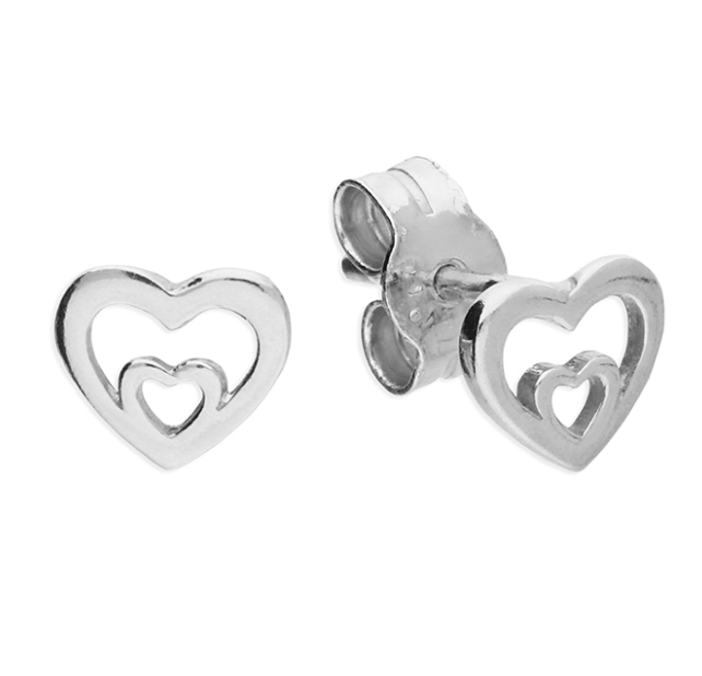 Silver Double Heart Stud Earrings