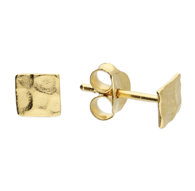 Yellow Gold Dainty Hammered Square Stud Earrings