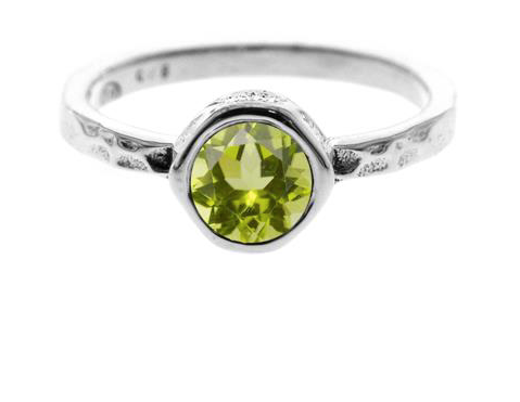 Round Hammered Peridot Ring