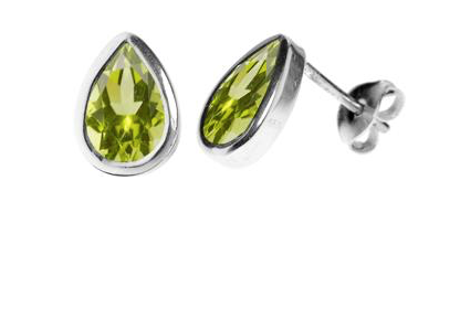 Peridot Tear Drop Shape Stud Earrings