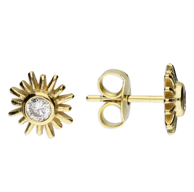 Yellow Gold CZ Sun Stud Earrings
