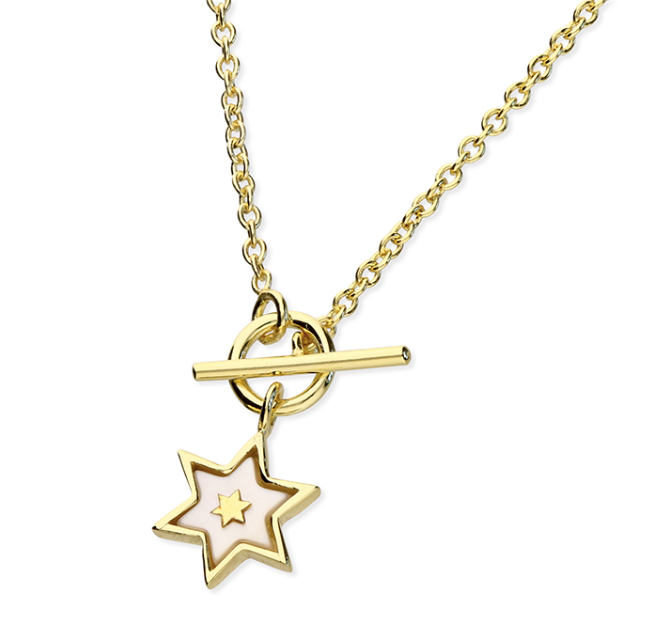Yellow Gold Mother of Pearl Star T-Bar Necklace