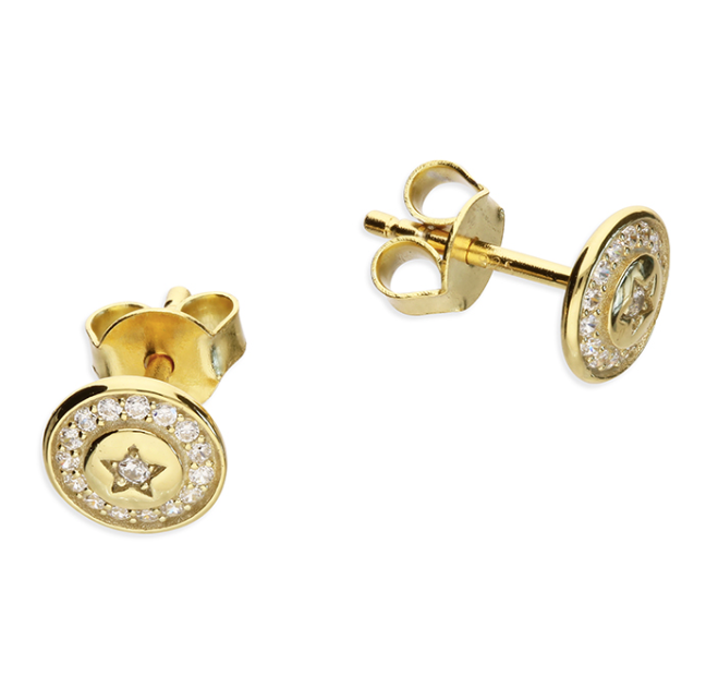 Yellow Gold CZ Star Disc Stud Earrings