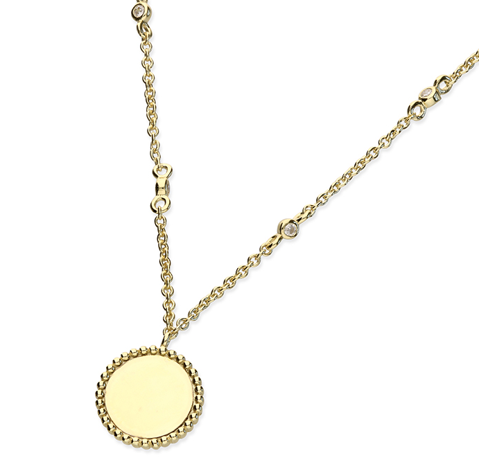 Yellow Gold Bobble Edge Disc CZ Chain Necklace