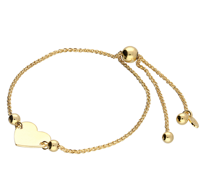 Yellow Gold Large Heart Slider Bracelet