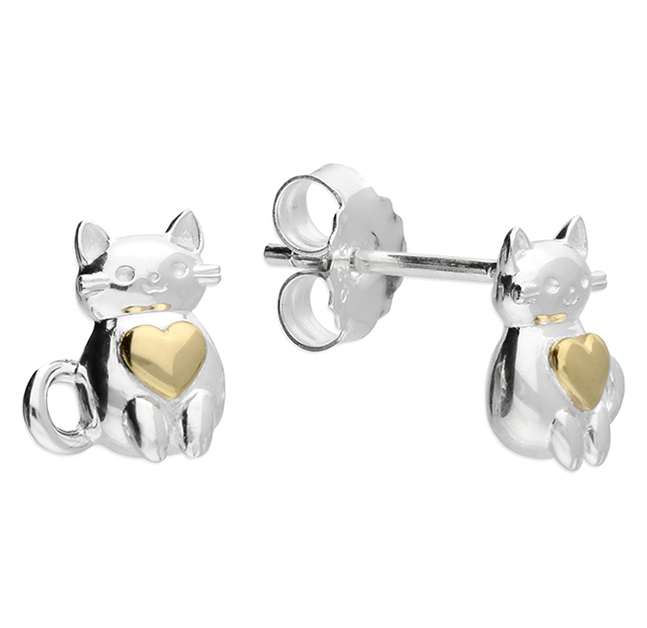Silver & Yellow Gold Cat Heart Stud Earrings