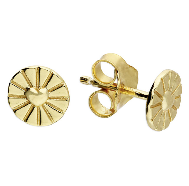 Yellow Gold Heart Disc Stud Earrings