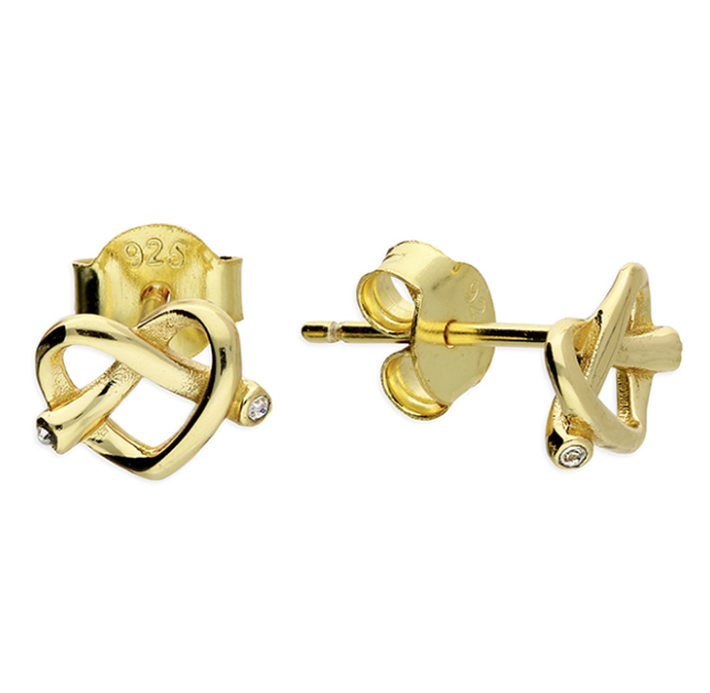 Yellow Gold Love Knot Heart Stud Earrings