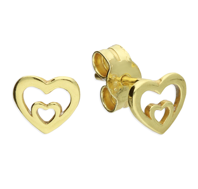 Yellow Gold Double Heart Stud Earrings