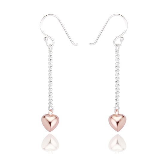JENNA HEART DROP EARRINGS - ROSE GOLD