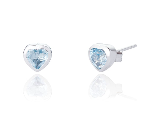 MAEVE HEART STUD EARRINGS - BLUE TOPAZ