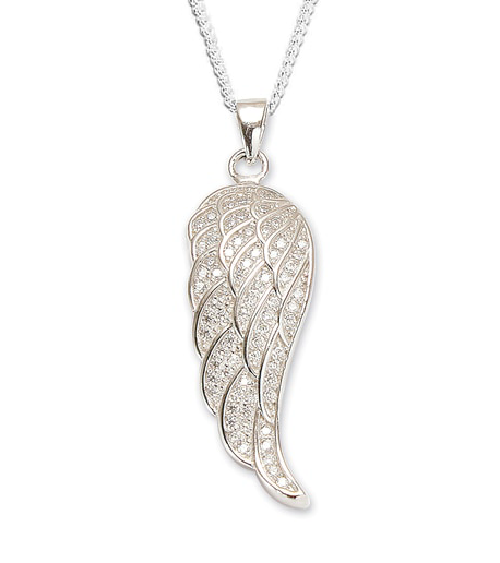 LARGE CRYSTAL ANGEL WING PENDANT