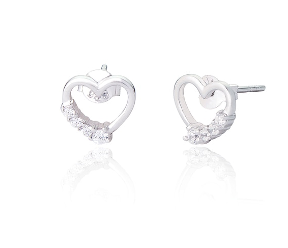 ETTIE OPEN HEART CZ STUD EARRINGS