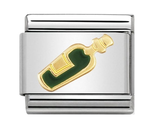 Nomination Gold & Green Wine Bottle Charm