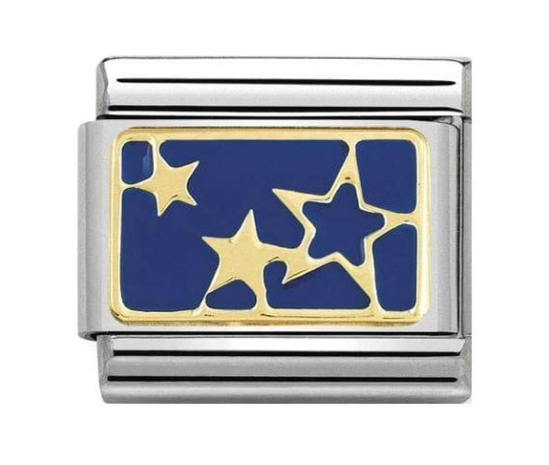 Nomination Gold & Blue Stars Plate Charm