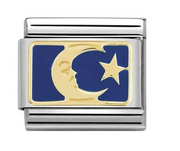 Nomination Gold & Blue Stars & Moon Plate Charm