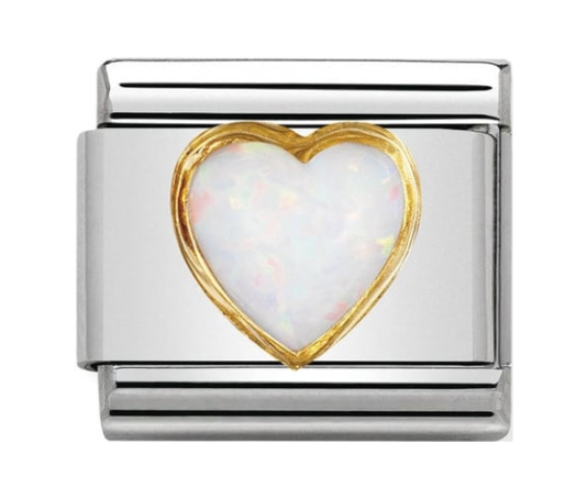 Nomination Gold & White Opal Heart Charm