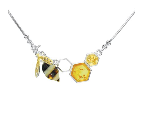 Designer Bee & Honey Amber Necklace