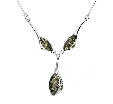 3 Stones Green Amber Necklace