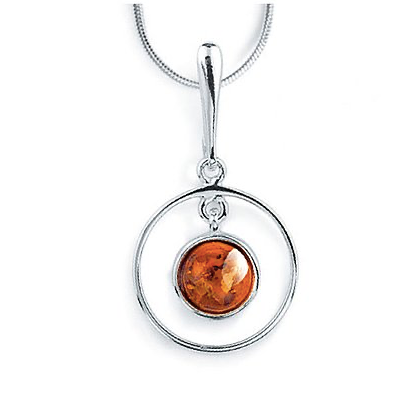 Double Circle Amber Pendant