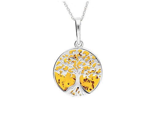 silver tree if life pendant set with amber