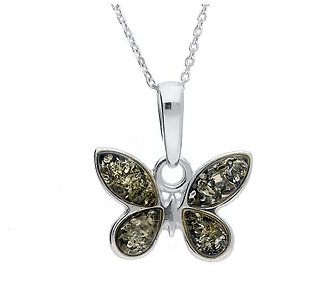 Green Amber Butterfly Pendant