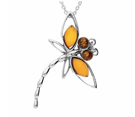Amber Dragonfly Pendant
