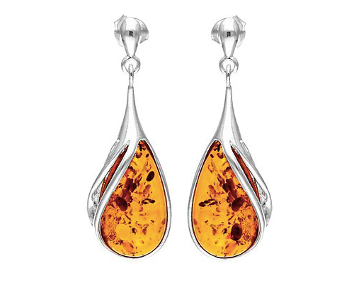 Amber Large Pear Drop Earrings