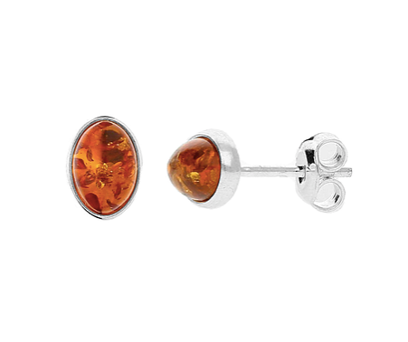 Amber Small Oval Stud Earrings