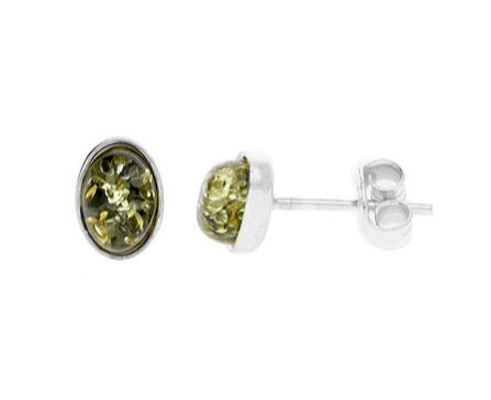 Green Amber Small Oval Stud Earrings