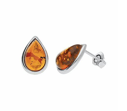 Amber Teardrop Stud Earrings