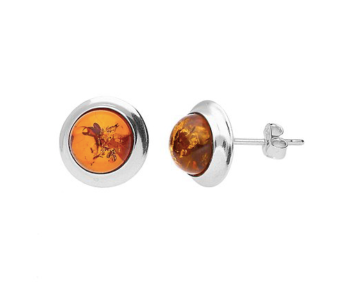 Round Amber Silver Surround Stud Earrings