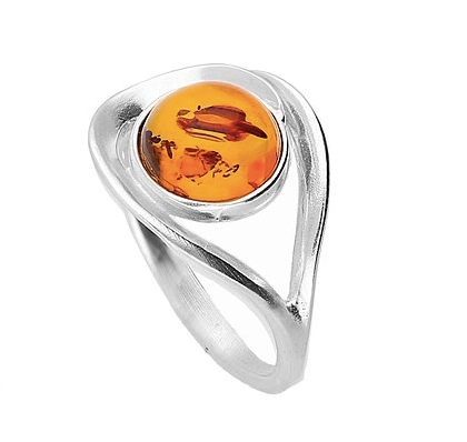 Round Amber Open Silver Ring