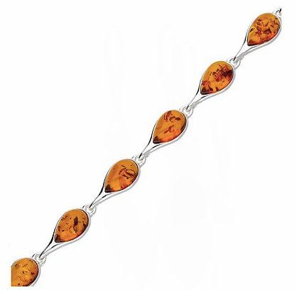 Pear Shaped Amber Link Bracelet