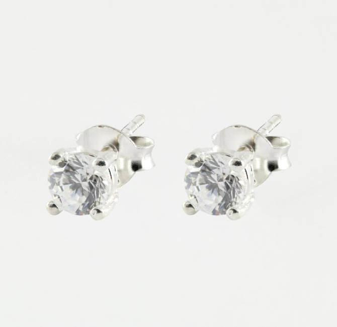 4mm Round CZ Stud Earrings