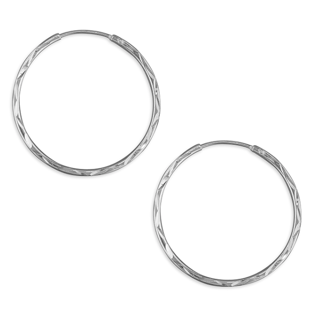 25mm Diamond Cut Sleeper Hoop Earrings