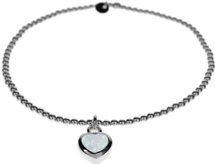 silver bead stretch bracelet with white opal heart charm