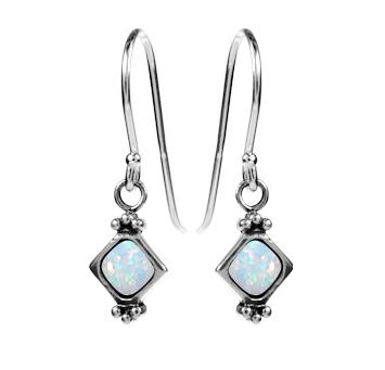 silver & white opal square vintage design drop earrings