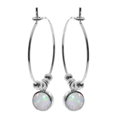 Silver hoop earrings with silver beads & a round drop opal