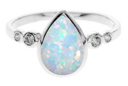 White opal tear drop stone silver ring