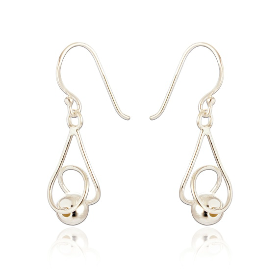 silver large drop twisted ball earrings