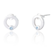 silver circle stud earrings set with small blue topaz stone