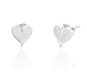 silver heart stud earrings set with crystals