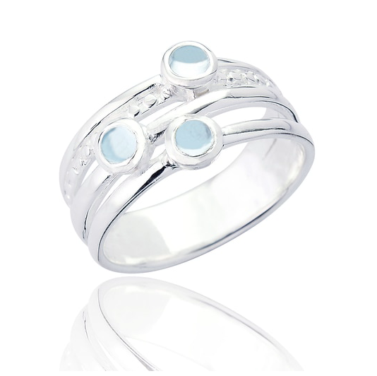 layered silver blue topaz ring